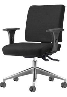 Cadeira Simple Com Braco Assento Crepe Preto Base Aluminio Piramidal - 54927 - Sun House
