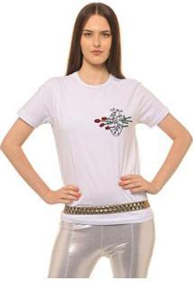 Camiseta Joss Estampada Logo Heart Of Flowers Feminina - Feminino-Branco