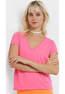 Camiseta Flora Zuu Decote V Neon - Feminino-Pink