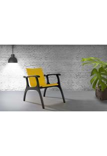 Poltrona Para Sala Com Braços Pés De Madeira - Poltrona Para Quarto - Laca Preto E Amarelo - Calvin - 66X77X67 Cm