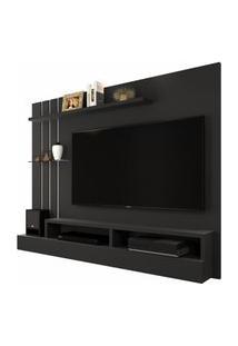 Painel Para Tv Até 47 Polegadas - Preto Fosco / Off White - Móveis Jaci