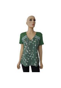 T-Shirt Acostamento Ramo Flores Verde Tam. M