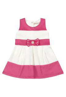 Vestido Infantil - Lacinho Rosa - Listrado Rosa E Branco - Livy Malhas