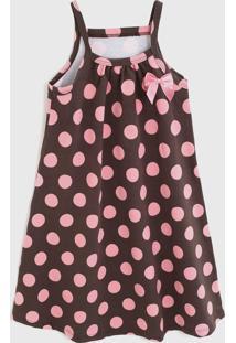 Vestido Kyly Infantil Poás Marrom/Rosa