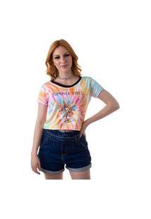 Camiseta Cropped Feminina Overfame Summer Vibes Tie Dye Md32