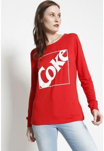 "Camiseta ""Coke""- Vermelha & Branca- Coca-Colacoca-Cola"