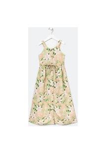 Vestido Infantil Floral Botões - Tam 5 A 14 Anos   Fuzarka (5 A 14 Anos)   Rosa   7-8
