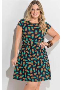 Vestido Evasê Estampa Abacaxi Plus Size Quintess