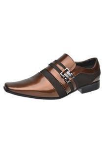Sapato Verniz Masculino Malbork Couro Com Fivela 8152D102 Café