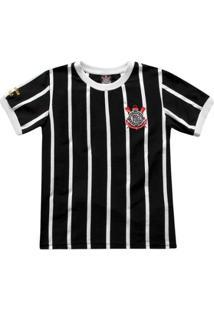 Camisa Retrô Corinthians Democracia Réplica 1982 Infantil - Masculino-Preto+Branco