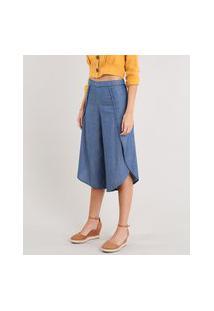 Calça Jeans Pantacourt Feminina Envelope Azul Médio