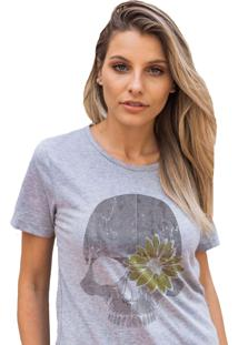 Camiseta Basica My Tshirt Caveira Girassol Mescla - Kanui