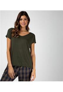 Camiseta Liz Easywear Manga Curta Feminina - Feminino-Verde Militar