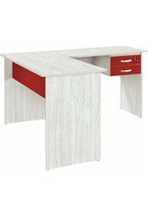 Mesa Para Computador Em L Com 2 Gavetas Atrativa Color Legno/Vermelho - Plata Móveis