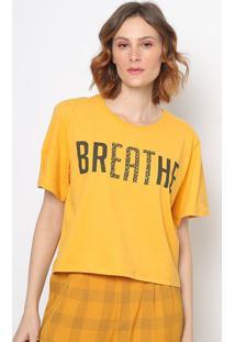 "Camiseta Animal Print ""Breathe""- Amarela & Preta- Sosommer"