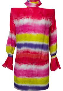 Mini Vestido Listra Tie Dye Fluor (Estampado, 34)