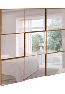 Espelho Decorativo Anubis Quadrado Freijo 75 Cm