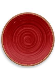 Prato De Sobremesa Rústico Redondo Em Melamina 22 Cm Vermelho