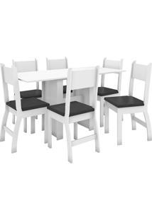 Conjunto De Mesa E 6 Cadeiras Para Sala De Jantar Milano-Poliman - Branco / Preto