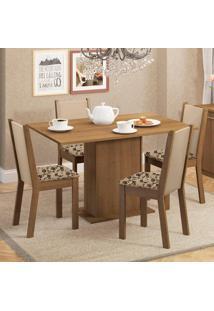 Conjunto Sala De Jantar Madesa Talita Mesa Tampo De Madeira Com 4 Cadeiras Marrom - Marrom - Dafiti