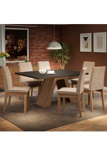 Conjunto Sala De Jantar Madesa Yasmin Mesa Tampo De Madeira Com 6 Cadeiras Marrom