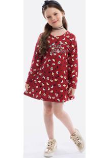 Vestido Infantil Estampa Floral Manga Longa Brandili
