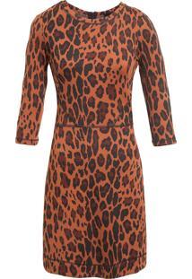 Vestido Curto Leeloo Animal Print - Marrom