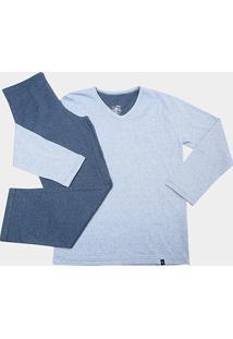 Pijama Infabtil Longo Lupo Tal Pai Masculino - Masculino-Azul+Marinho