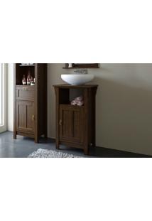 Balcão Menor Para Banheiro De Madeira Mission - Bancada Pequena Rústica De Banheiro Cor Nogueira - 53X42X85Cm