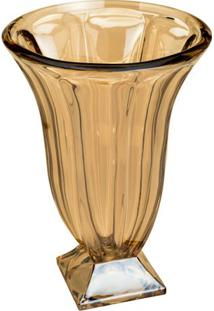 Vaso Com Pé Panel- Cristal & Âmbar- 35,5Xø25Cm- Rojemac