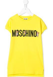 Moschino Kids Vestido Reto Com Estampa De Logo - Amarelo
