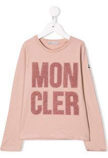 Moncler Kids Blusa Com Logo E Brilho - Rosa