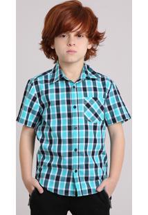 Camisa Infantil Xadrez Manga Curta Com Bolso Verde