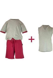 Pijama Infantil Gummi Martin 3 Peças Masculino - Masculino-Cinza+Vermelho