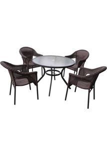 Conjunto Mesa E 4 Cadeiras Em Alumínio E Rattan Atacama - Mor