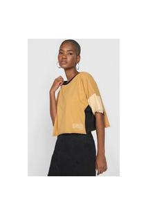 Camiseta Colcci Color Block Bege/Preta