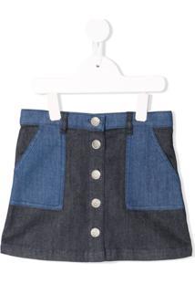 Bonpoint Saia Jeans Com Patch - Azul