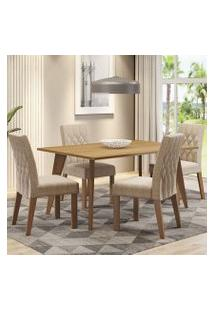 Conjunto Sala De Jantar Madesa Adele Mesa Tampo De Madeira Com 4 Cadeiras Rustic/Imperial Cor:Rustic/Imperial