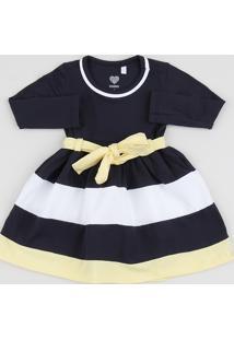 Vestido Infantil Listrado Com Laço Manga Longa Azul Marinho