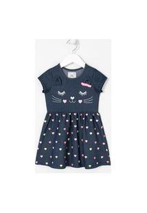 Vestido Infantil Estampa Cara De Gatinho - Tam 1 A 5 Anos | Póim (1 A 5 Anos) | Azul | 04