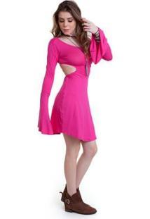 Vestido Manola Manga Flare - Feminino-Rosa