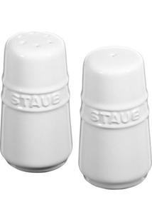 Mini Saleiro E Pimenteiro Cerâmica Branco Staub