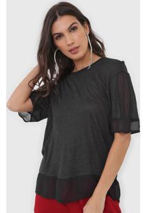 Camiseta Open Style Recortes Preta - Kanui