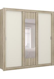 Guarda-Roupa Casal Flex Color Com Espelho Elus 3 Pt 3 Gv Anis E Camurça