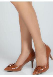 Sapato Feno Scarpin Fivela Caramelo Caramelo