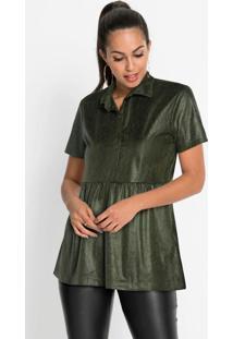 Camisa De Suéde Animal Print Cobra Verde