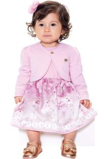 Vestido Infantil Paraiso Cetim Com Bolero De Malha Rosa