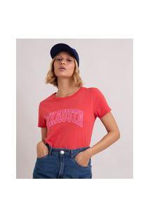 """Camiseta De Algodão """"Exausta"""" Manga Curta Decote Redondo Vermelha"""