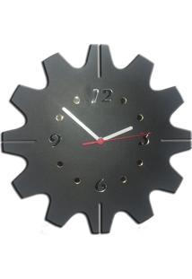 Relógio De Parede Mecanismo Em Madeira Mdf Laminado E Detalhes Em Espelhos Decoramix
