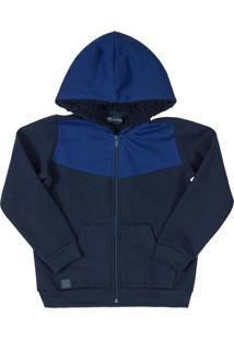 Jaqueta Infantil Moletom Com Capuz Azul